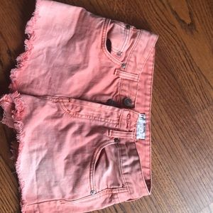 Coral Pink High Rise Jean Shorts